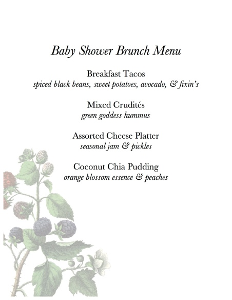 Baby Shower Brunch Sample Menu