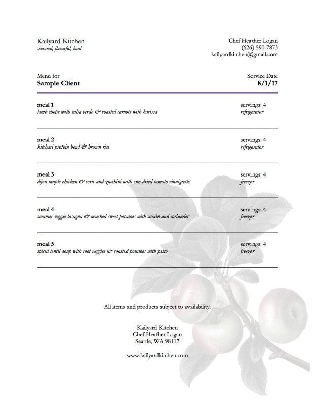 sample summer menu